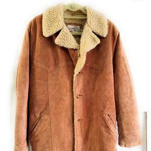 SEARS Mens 40 Reg Ranch Leather Coat Jacket Medium